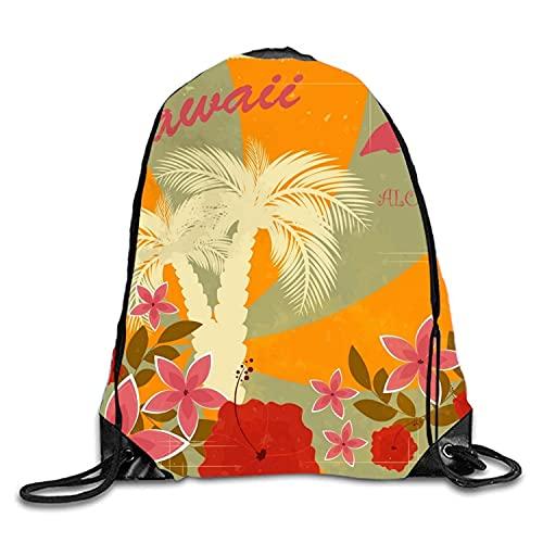 Lawenp Mochila con cordón de Flores Hawaianas Mochila Impermeable para Gimnasio para Hombres y Mujeres