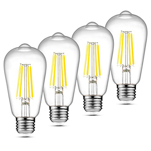 Ascher LED Edison Bulbs 6W, Equivalent 60W, High Brightness Daylight White 4000K, 700 Lumens, ST58 Vintage LED Filament Bulbs, E26 Base, Non-Dimmable, Clear Glass, 4 Packs