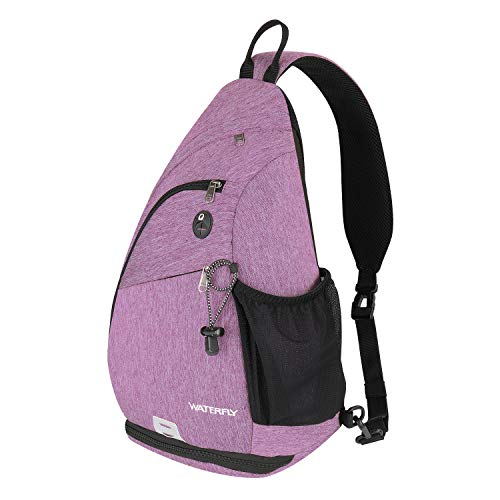 Sling Backpack WATERFLY Sling Bag Small Crossbody Daypack Casual Backpack Chest Bag Rucksack for Men & Women Outdoor Cycling Hiking Travel (purple 1)