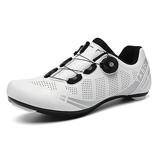 Zapatillas de Ciclismo para Bicicleta de Carretera para Hombre Antideslizante Transpirable Compatible con SPD y Delta Blanco 275