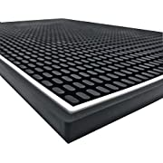 Highball & Chaser Premium Bar Mat 18in x 12in. 1cm Thick Durable and Stylish Bar Mat for Spills. Service Mat for Coffee, Bars, Restaurants and Counter Top Dish Drying Mat, Glass Drying Mat (Black)