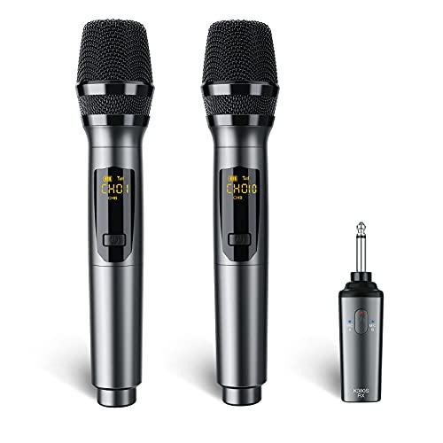 Wireless Microphone, LEKATO K380S Rechargeable Wireless Microphone Metal Dual...