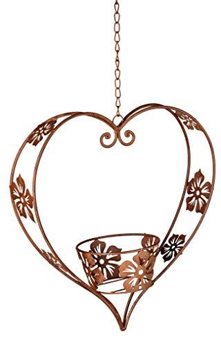 dekojohnson Blumenampel-Herz Metallherz rostig Gartendeko Hängedeko Hängeampel Pflanzentopfhalter Hängetopf Herzdeko Rostherz Hängekorb 32cm