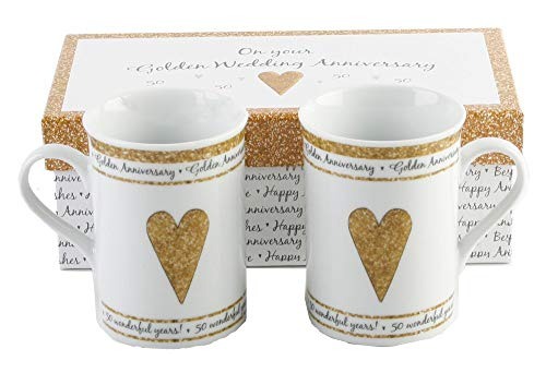 50th Golden Wedding Anniversary Gift Set Ceramic Mugs
