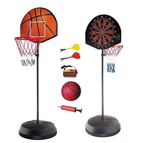 WENZHE Basketballständer Basketballkörb Basketball System Ständer Hoop Stand Kind Dartscheibe Doppelseitige Verwendung Höhenverstellbar (153-172cm)