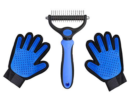 Pet Grooming Tool Double-Sided Dematting Comb & Grooming Gloves 2PCs for Dogs Cats Easily Handle Tangles
