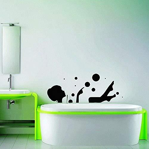 ASFGA Etiqueta de la Pared del baño decoración del baño Hermosa Mujer Cara niña Vinilo Adhesivo Impermeable Sala de Estar decoración Mural