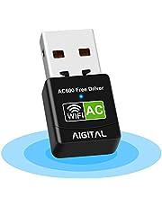 Aigital無線LAN子機 無線LANアダプター AC600 WiFiアダプター 5G/2.4Gデュアルバンドusb wifi受信機 802.11ac技術高感度内蔵アンテナ超高速通信Wi-Fi adapter 子機/親機両用型 デスクトップパソコン/ノートPC用WIFI子機 超小型 ハイパワーWindows 10 / 8.1 / 8 / 7 / XP / Vista / に対応