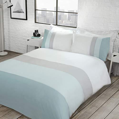 Sleepdown Colour Block Duck Egg Reversible Soft Easy Care Duvet Cover Quilt Bedding Set with Pillowcases - King (220cm x 230cm)