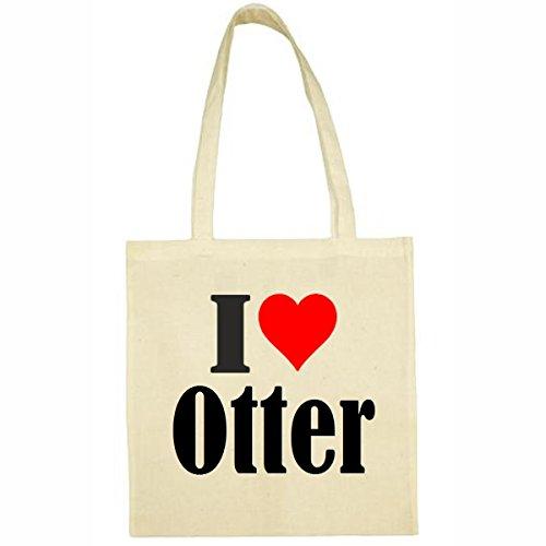 Tasche I Love Otter Größe 38x42 Farbe Natur Druck Schwarz