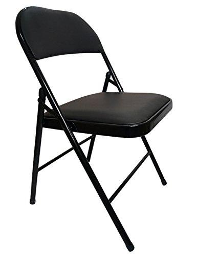 MAZHONG Tabourets Chaise pliante en acier facile Chaise pliante en acier Bureau Famille Réunion Retour Chaise pliante (Couleur : Noir)