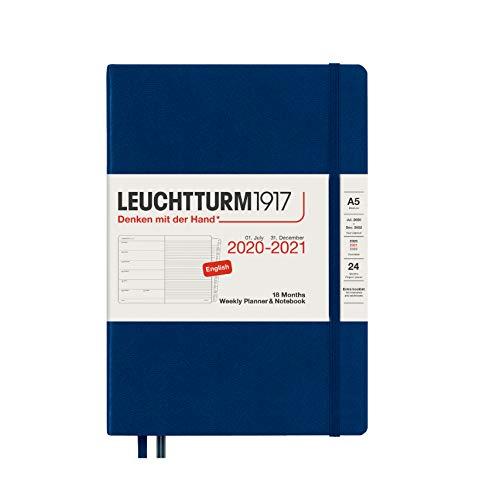LEUCHTTURM1917 Wochenkalender und Notizbuch 2021 Hardcover Medium (A5), 18 Monate, Marine, Englisch