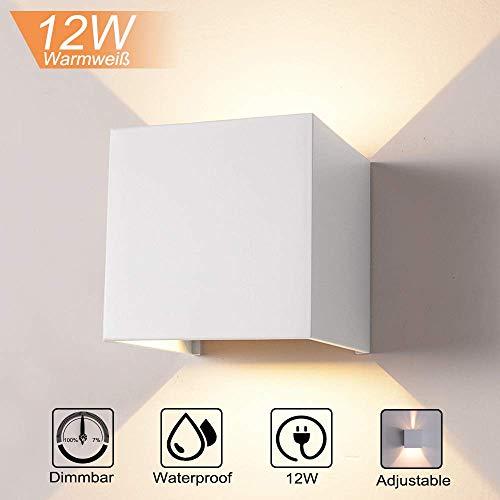 INHDBOX 12W Wandleuchte Dimmbar Aluminium Wasserdicht Wandlampe mit einstellbar Abstrahlwinkel LED Wandbeleuchtung für Innen und Außen-Warmweiß (Weiß)