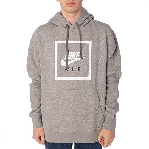 NIKE Sweatshirt, Dk Grey Heather/White, M Mens