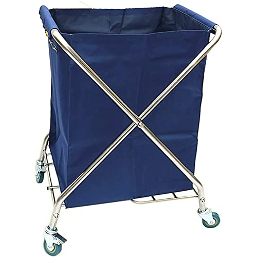 Fhdisfnsk Heavy-Duty Folding Laundrys Sorter Cart Commercial Hotel Trolley, Laundry Hamper On Rolling Wheels With Removable Bags (Color : Blue)