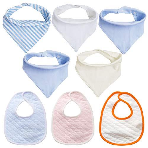 8 piezas Unisexo Baby Bandana Baberos de baba, AIFUDA Suave Absorbente Orgánico Algodón Baberos para la dentición del bebé para infante, Niñito Regalo de la ducha