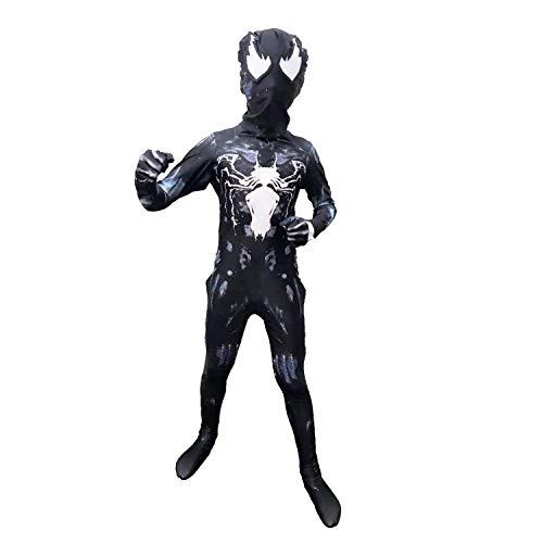 Venom Kids Bodysuit Superhero Costumes Lycra Spandex Halloween Cosplay Costumes(Kids-XXL(Height:55-59Inch))