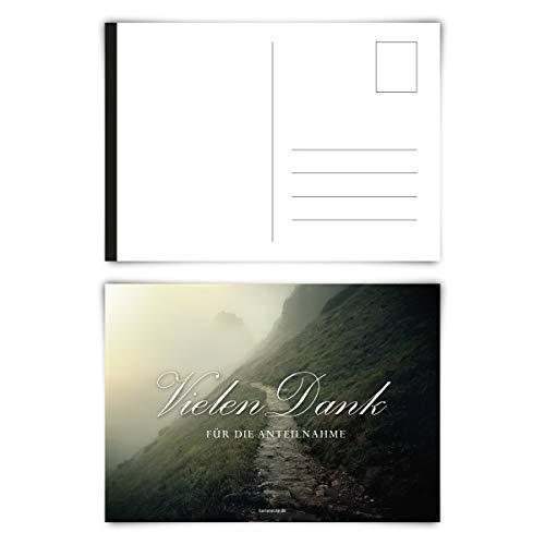 Trauerkarten Trauer Danksagungen 12 Stück Karten Set - Steiniger Weg Postkarten