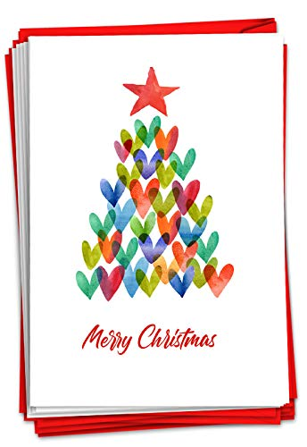 NobleWorks - 12 Fun Christmas Cards with Envelopes - Boxed Holiday Greeting Cards for Kids, Festive Stationery (1 Design, 12 Cards) - Holiday Hearts C2916AXSG-B12x1