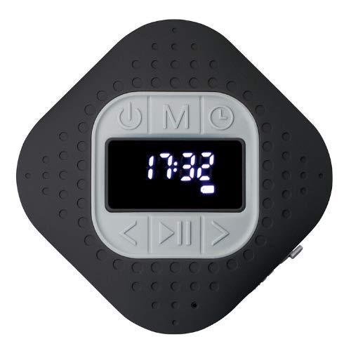 Lenco BAR-013 - Radio de Ducha con Bluetooth V.5 (IPX4, Altavoz Bluetooth, función Manos Libres, Ventosa, PLL FM, 3 W RMS - 1000 mAh, batería de Iones de Litio, Apta para Exteriores), Color Negro