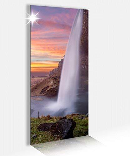 Acrylglasbild 40x100cm Wasserfall Island schöne Landschaft Acrylbild Glasbild Acrylglas Acrylglasbilder 14A2689, Acrylglas Größe2:40cmx100cm