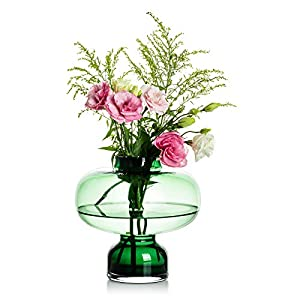 Glass Vase for Flowers, Green Art Vase Modern Narrow-Necked Vase for Table Decoration, Wedding Ceterpiece for Rose, Hydrangea, Daffodil, Artificial Long-Stemmed Flowers