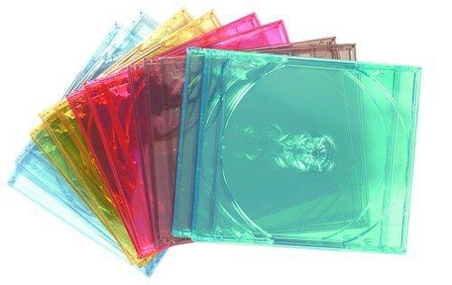 100-Pack Assorted Colors Memorex 32021990 Slim CD Jewel Case 5mm