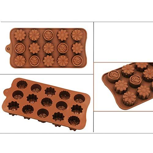 XUZHUO Silikon Schokoladenform Silikon Blume Rose Schokoladenkuchen nform Backen Eiswürfelform Kuchen Werkzeuge