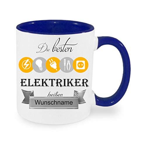 crealuxe  Tasse m. Wunschname Die Besten Elektriker heißen. Wunschname - Kaffeetasse mit Motiv, Bedruckte Tasse mit Sprüchen Oder Bildern