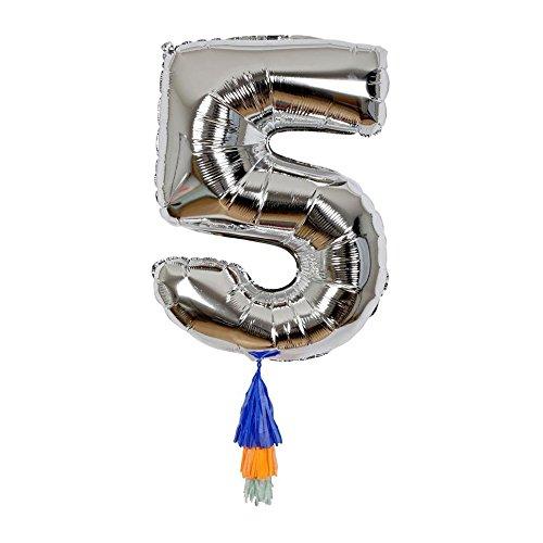 Ballon chiffre 5 avec pompons - Meri Meri