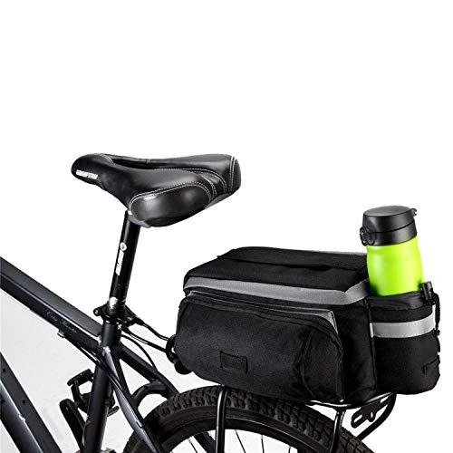 traderplus Bike Pannier Bag - Durable & Waterproof Nylon with Reflector Handbag | Shoulder Strap Rack Rear Trunk Tote Bag | Strong Velcro, Zipper Pockets & Bottle Case
