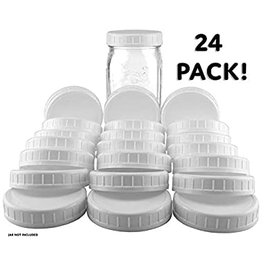 Two Dozen Wide Mouth Plastic Mason Jar Lids (24-Pack Bundle); 2 Dozen Unlined White Ribbed Lids, 86-450 Size