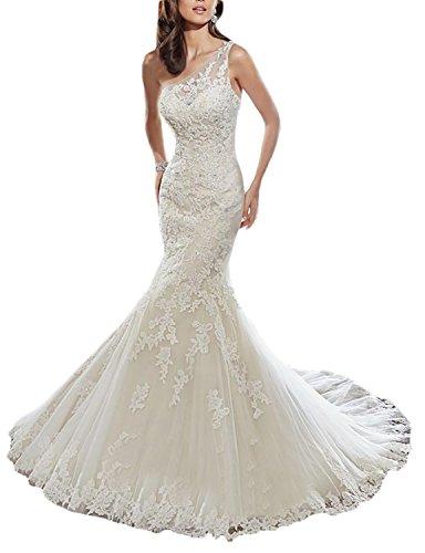 Tianshikeer Brautkleider Meerjungfrau Spitze Rückenfrei Tüll Eine One Shoulder Schulterfrei Lang Hochzeitskleider