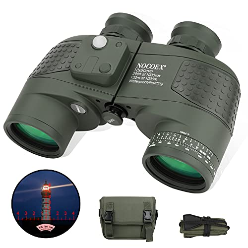 NOCOEX Binocolo impermeabile, 10 x 50 cm, per adulti, con telemetro e bussola, obiettivo FMC, prisma Bak-4, per osservazione degli uccelli, navigazione di divertimento, caccia