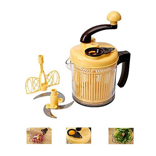Hachoir à légumes oignon Chopper, manuel robot culinaire Slicer Dicer, hachoir à viande hachoir, mélangeur, Cutter, Dicer Antiderapant base, Comprend Fouet, couvercle, Jaune Huangwei7210