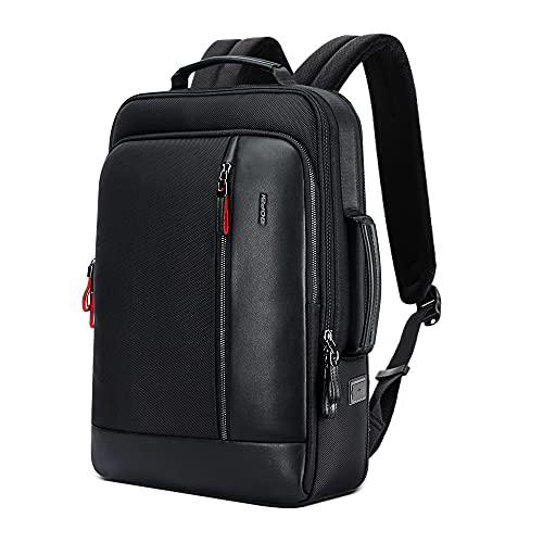 BOPAI リュック メンズ ビジネスリュック 防水バックパック USB充電ポート搭載 ラップトップバッグ 大容量 容量追加 通勤バッグ 通学 15.6インチパソコン対応 ブラック