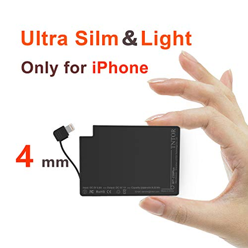 TNTOR 2500mAh Ladegerät, Ultra dünn 4mm Mini Power Bank nur für iPhone