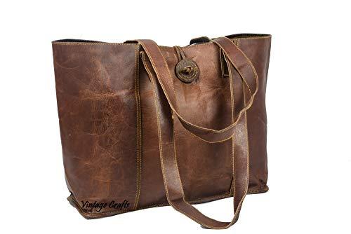Bolsa feminina clássica vintage genuína feita à mão para laptops de até 15,6 polegadas,