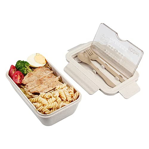 MUGUT Brotdose,Lunchbox ,1100ml,Bento Box mit Fächern und Besteck,Vesperdose Für Kinder Und Erwachsene,Für Schule,Arbeit,Picknick Reisen-Beige