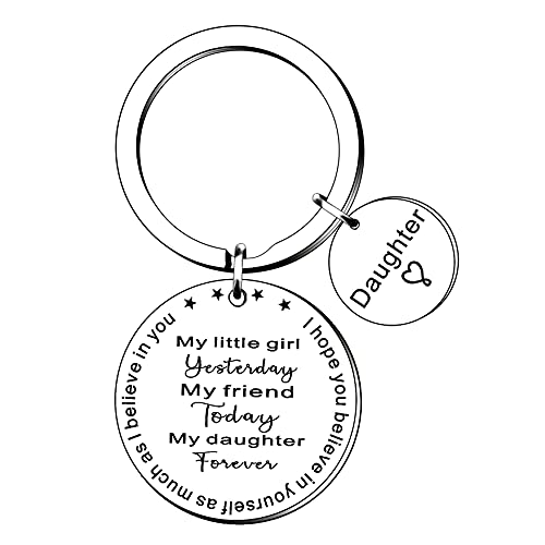 JETTOP Daughter Gifts Keyring Inspirational Key Ring Gift for Daughter Birthday Christmas Graduation Gift from Mum Dad (My Daughter Forever)