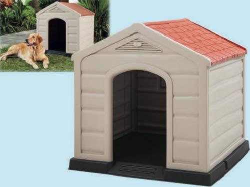 Happy House Cuccia per Cani in Resina PLASTICA Doggy Taglia Grande Large 90X92X89 CM Beige con Tetto Rosso