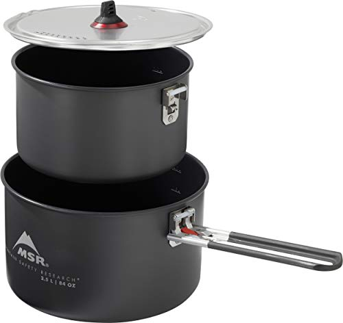 MSR Ceramic 2-Pot Backpacking Cook Set with Fusion Coating, Black
