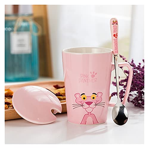 JSJJRFV Taza de Porcelana Pantera de cerámica Copa de Dibujos Animados Cerámica Leche Leche Jugo Tazas de té con Cuchara de Tapa cumpleaños (Color : Cute)