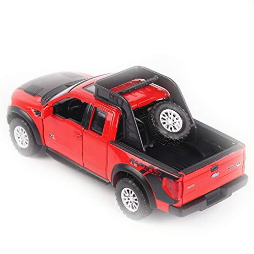 NMBE para Ford F150 Raptor Offroad Modelo De Coche Diecast Truck Pickup Light Music 4 Puertas Abiertas Coche De Juguete SuperWheel Auto Mobile Toy Car Modelo De Auto (Color : Red)