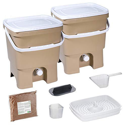 Skaza Bokashi Organko Set (2 x 16 L) mit 2 Kompostbehältern aus Recyceltem Kunststoff | Anfänger-Set für Küchenabfälle und Kompostierung | mit EM Bokashi Ferment 1 kg (Braun-Beige)