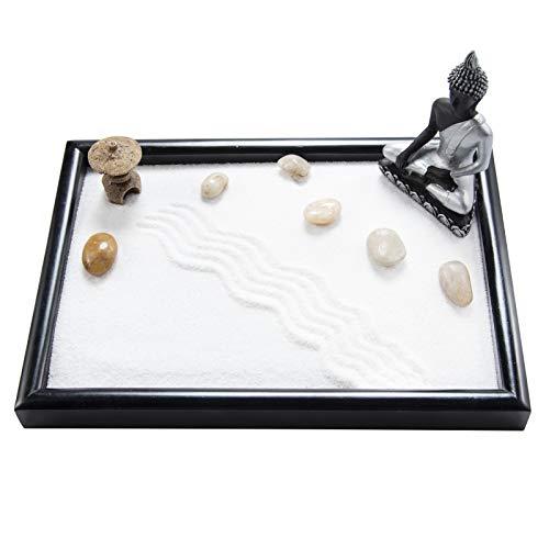 YJ Desktop Zen Garden with Buddha Statue Pagoda Whtie Sand Rocks Meditation Table Décor Kit (GR033)