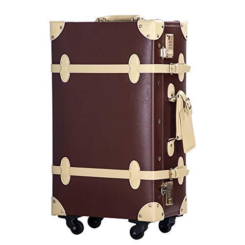 TANOBI トランクケース スーツケース キャリーバッグ SSサイズ機内持ち込み可 復古主義 おしゃれ 可愛い 13色4サイズ (ブラウン×ベージュ, Sサイズ(1−3泊))
