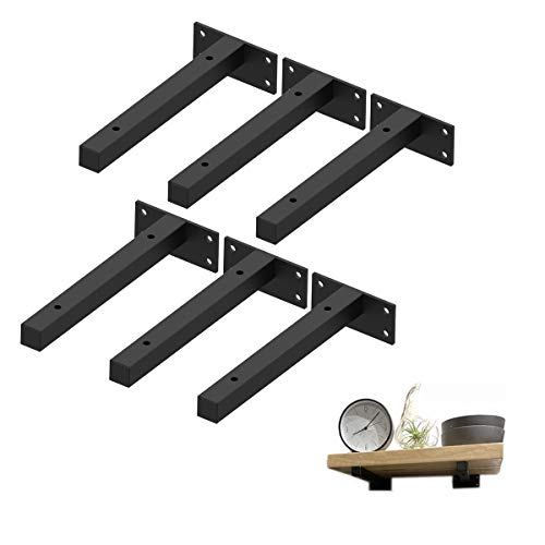 Floating Shelf Brackets 8 Inch, Heavy Duty Shelving Brackets Wall Mounted Metal Supports Industrial with Screws & Anchors, Hardware Brace for DIY Home Décor/Storage/Farmhouse(6 Pack)