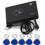 AMAO RFID Lector de Tarjetas sin Contacto 14443A IC, USB Interfaz con 5pcs Llavero RFID 13,56 MHz Inteligentes Proximidad Card