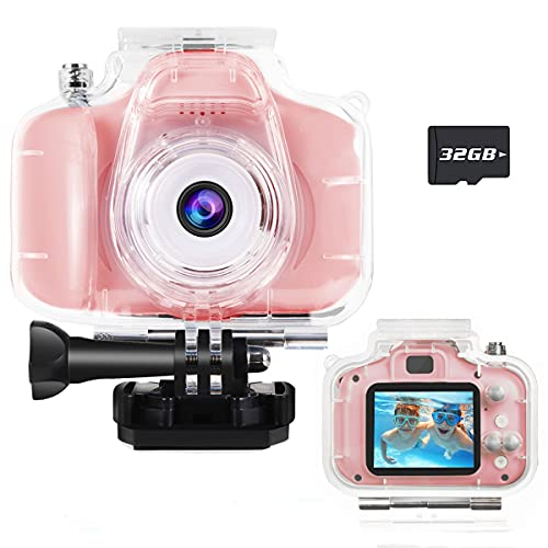 ASIUR Kids Camera Waterproof for Kids Girls Age 3-8 Birthday Gifts 1080P Video Recorder Kids Digital Camera Toddler Toys for 3 4 5 6 7 8 Year Old Girls Boys Underwater Camera with 32GB SD Card(Pink)